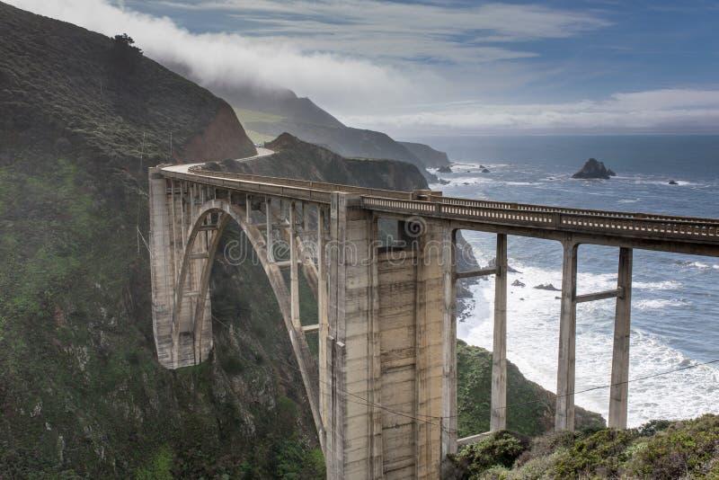 Bixby在风暴以后的小河桥梁 图库摄影