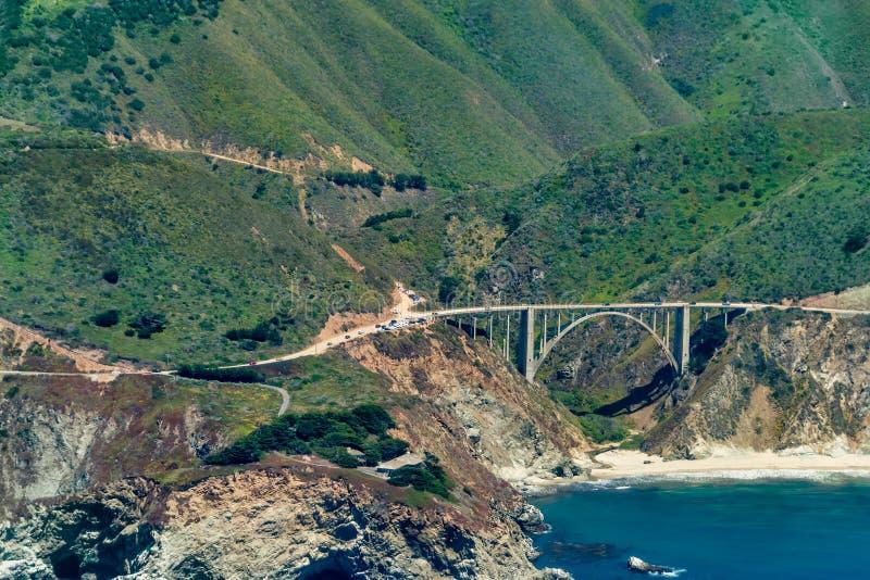 Bixby在高速公路1的小河桥梁在加利福尼亚 免版税库存照片