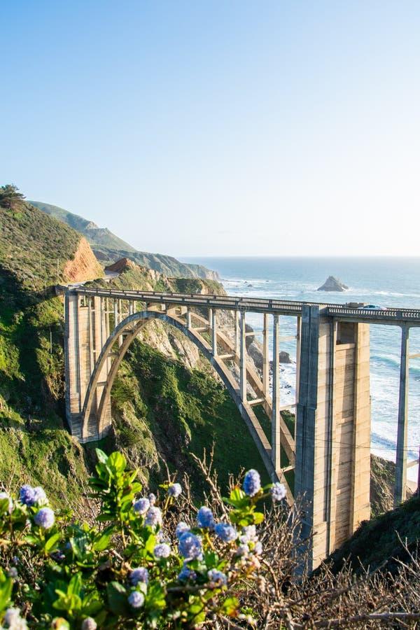 Bixby小河桥梁开放的spandrel曲拱桥梁在加利福尼亚 免版税库存照片
