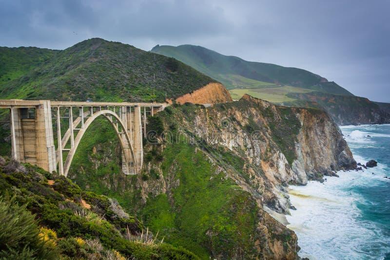 Bixby小河桥梁的看法,在大瑟尔 库存图片