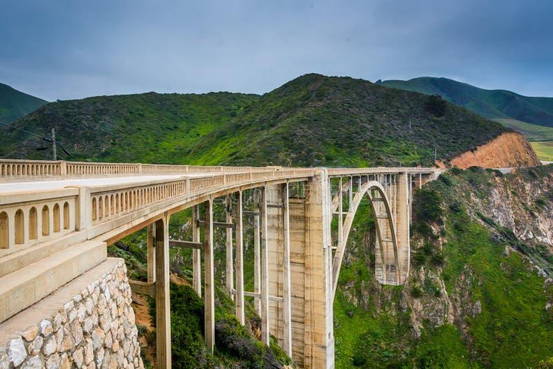 Bixby小河桥梁看法,在大瑟尔,加利福尼亚 库存照片