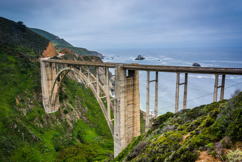 Bixby小河桥梁看法  免版税库存照片
