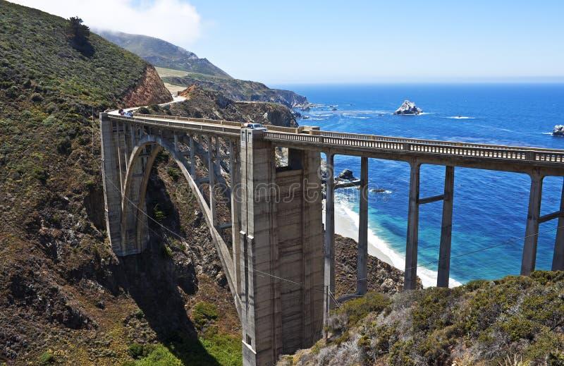 Bixby小河桥梁,大Sur,加利福尼亚 库存照片