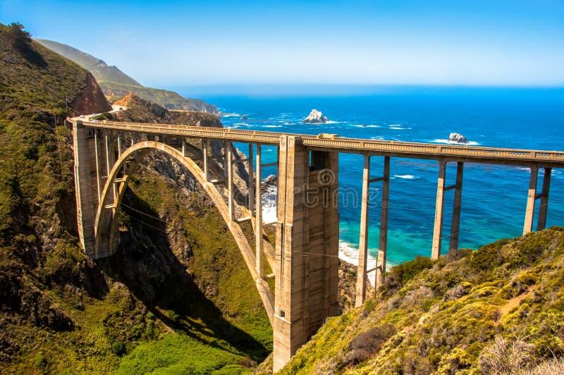 Bixby桥梁,高速公路1大瑟尔-加利福尼亚美国 图库摄影