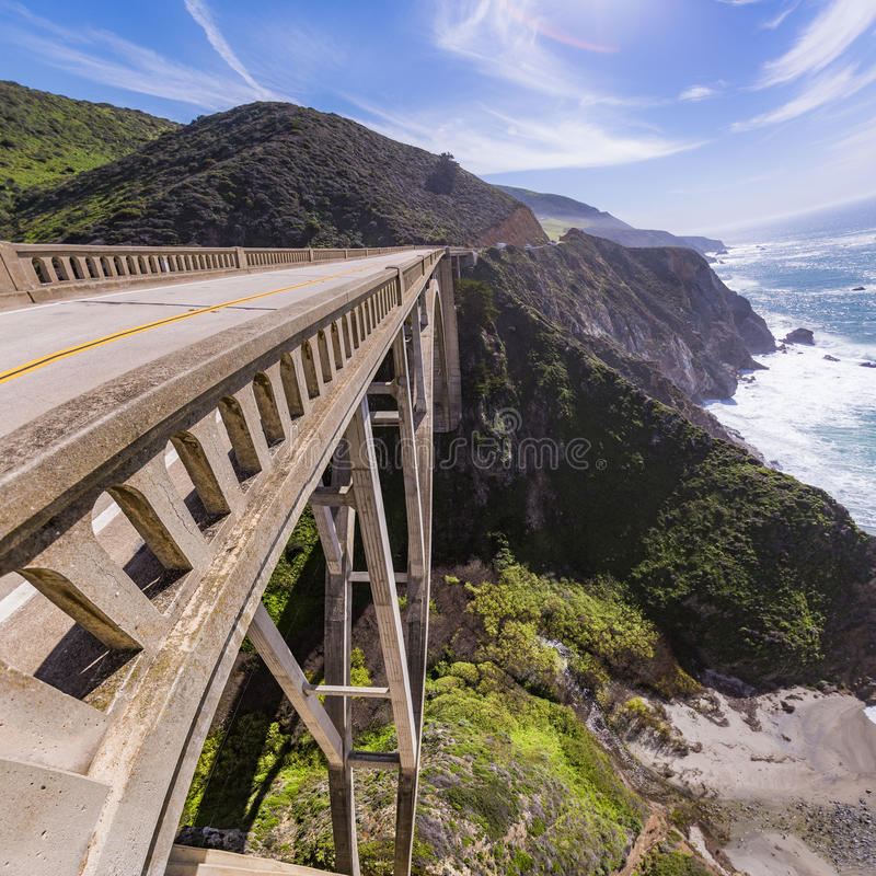 Bixby Bridge looking down. Vertigo feelings when the panorama shows the view and the fall royalty free stock image