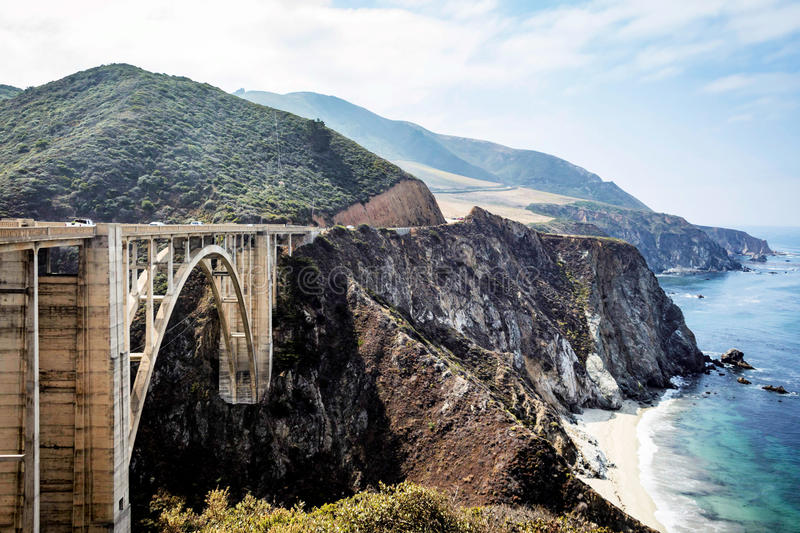 Bixby Bridge on Pacific Coast Highway. PCH in California shot from the North stock photo