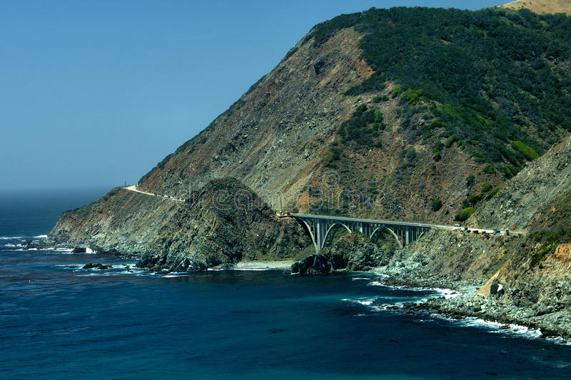 Bixby Creek Bridge. Spans the Bixby Creek for California Rout One (CA-1) a few miles North of Big Sur and South of Monterey. This si a double arch bridge and stock images