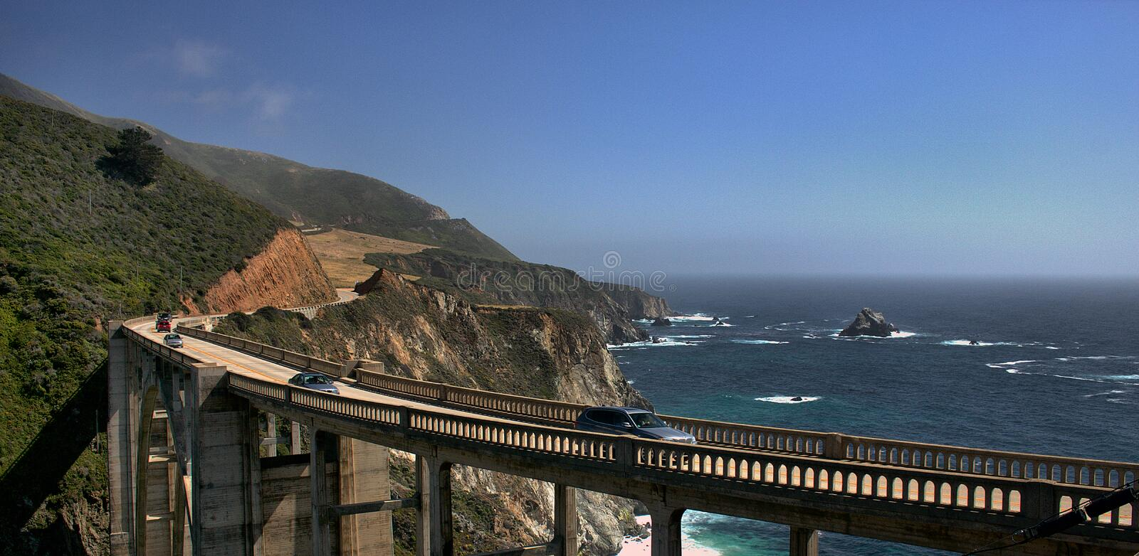Bixby Creek Bridge. Spans the Bixby Creek for California Rout One (CA-1) a few miles North of Big Sur and South of Monterey. This si a double arch bridge and royalty free stock photos
