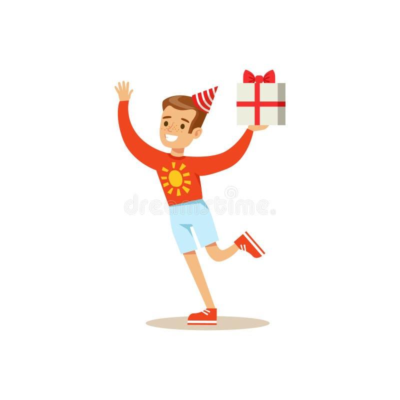 Biy bieg Z teraźniejszością, dzieciaka przyjęcia urodzinowego scena Z kreskówka Uśmiechniętym charakterem royalty ilustracja