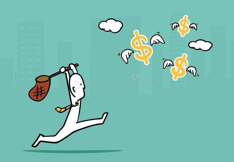 Biz mężczyzna pojęcie: Biznesowego mężczyzna bieg łapać latającego dolara si ilustracja wektor