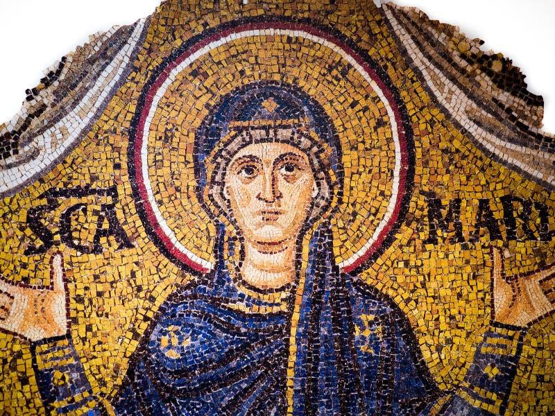 Bizantyjska mozaika na złocistym tle reprezentuje dziewicy Ma fotografia stock