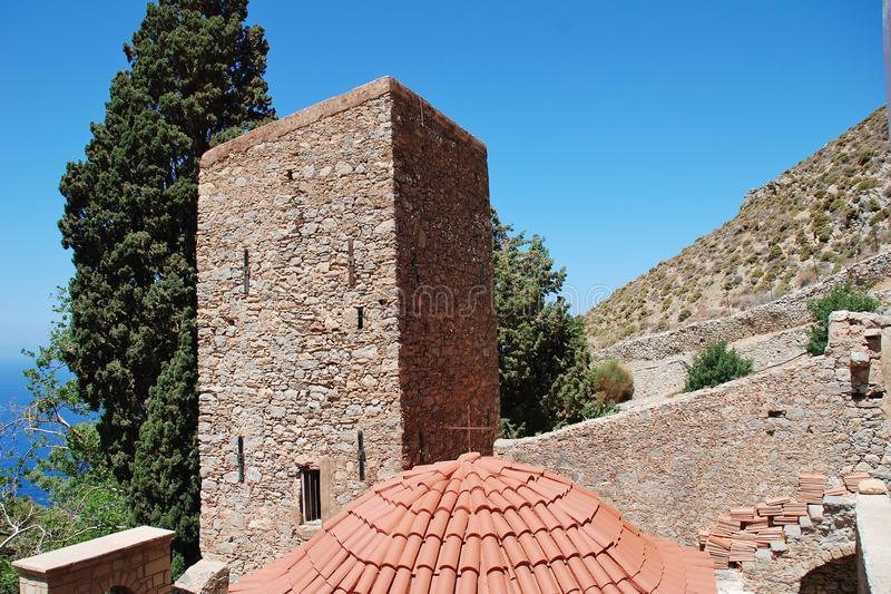 Bizantyjski monaster, Tilos wyspa obraz royalty free