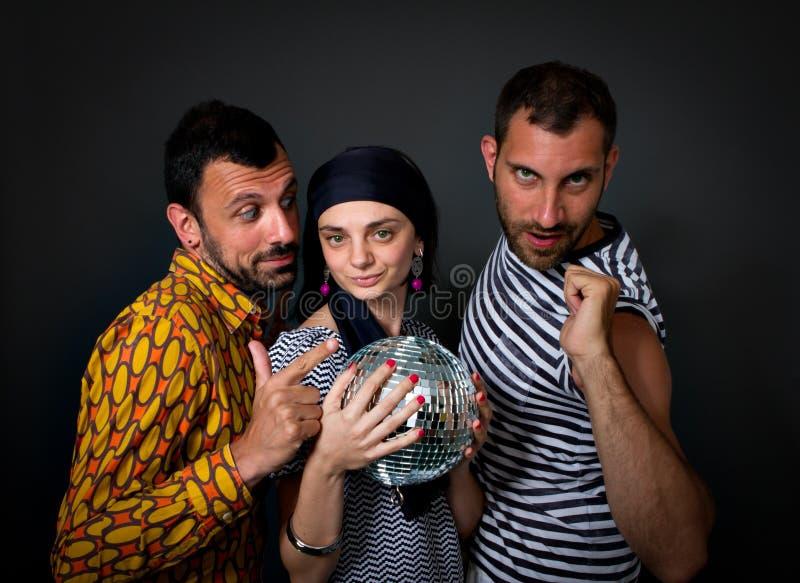 Bizar dansend trio royalty-vrije stock foto