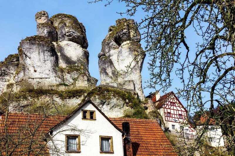 Bizarre columns of rocks Franconian Switzerland Germany. Bizarre columns of rocks (limestone), half-timbered houses, Franconian Switzerland Museum Pottenstein stock image