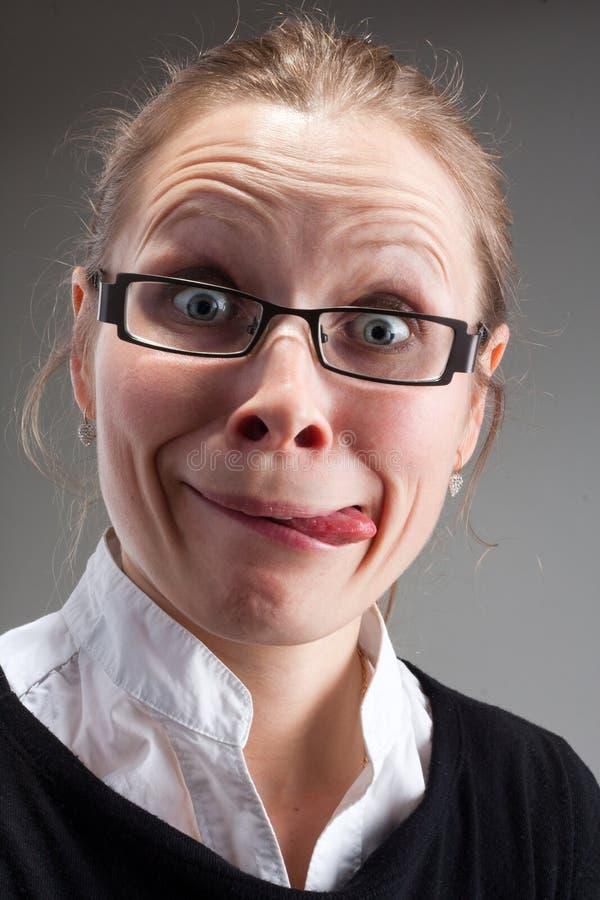 Bizarre insane business woman royalty free stock photos