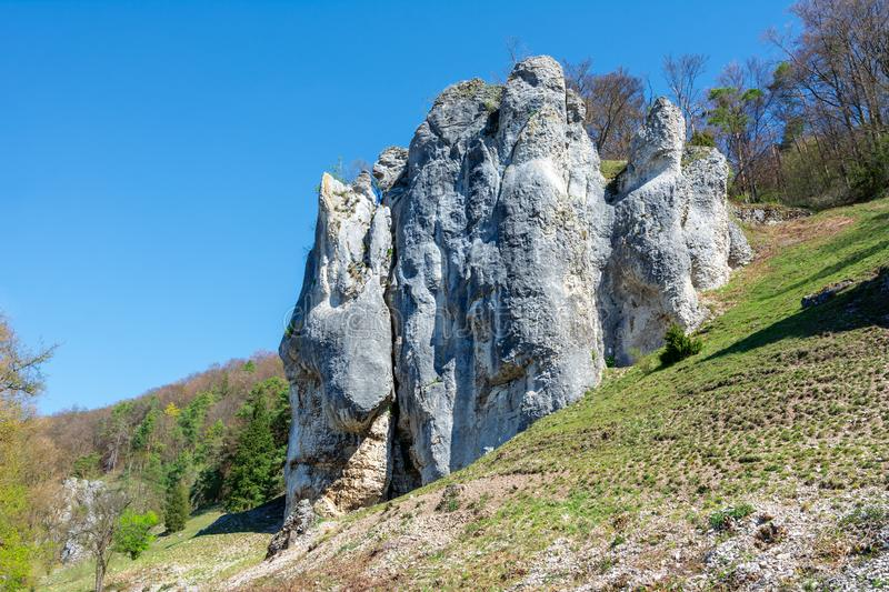 Bizarre rocks in Dollnstein in the Altmuehltal stock photography