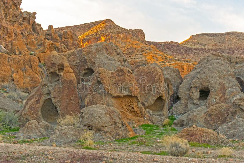 Bizarre Rocks in Evening Light. In the Hole in the Wall area of the Mojave Preserve in California royalty free stock photos
