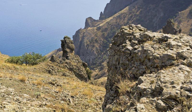 The bizarre rocks and stones in the reserve Kara-Dag.Crimea stock photo