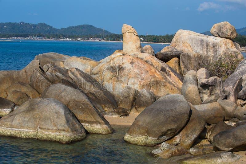 Bizarre rots, hin yai van Ta hin, zeer beroemd oriëntatiepunt van Samui, Thailand stock afbeelding