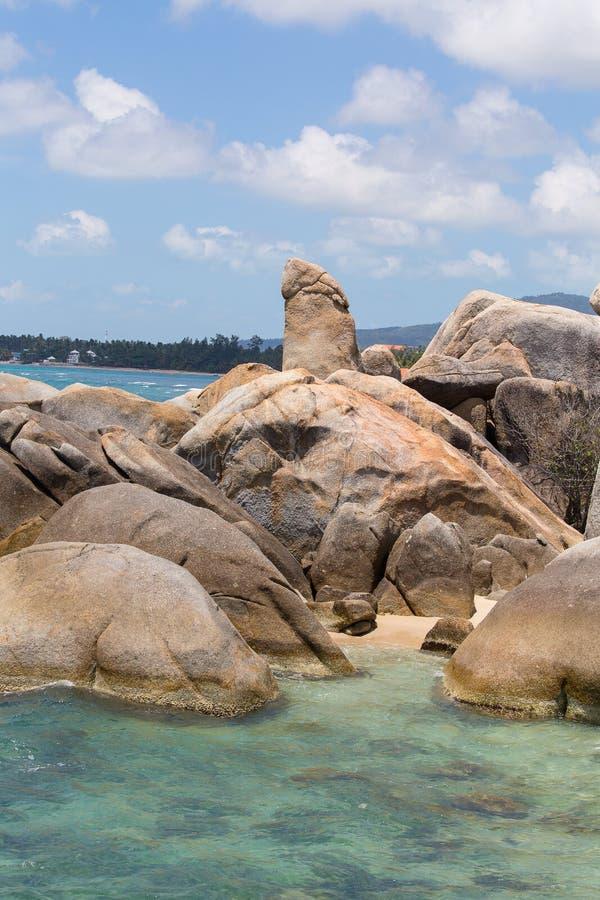 Bizarre rots, hin yai van Ta hin, zeer beroemd oriëntatiepunt van Samui, Thailand royalty-vrije stock foto
