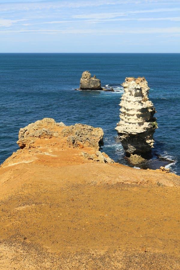 Bizarre rotsen in de Baai van Martelaren royalty-vrije stock foto's