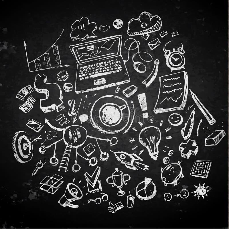 Biznesów doodles na blackboard royalty ilustracja