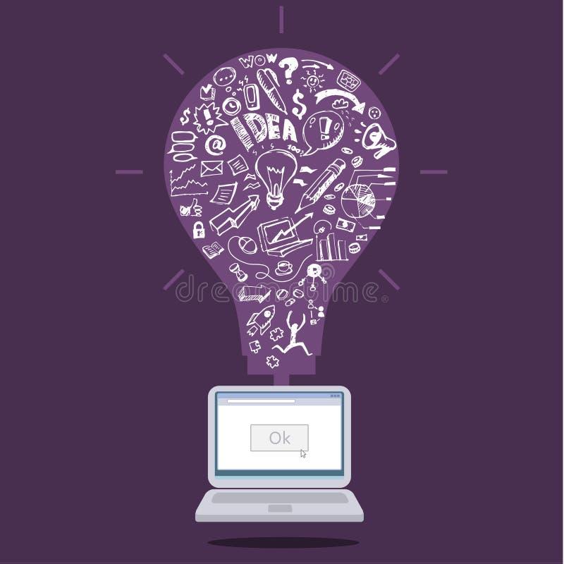 Biznesów doodles w purpurowej żarówce ilustracja wektor