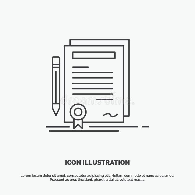 Biznes, świadectwo, kontrakt, stopień, dokument ikona Kreskowy wektorowy szary symbol dla UI, UX, strona internetowa i wisz?cej o ilustracji
