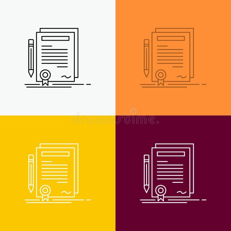 Biznes, świadectwo, kontrakt, stopień, dokument ikona Nad Różnorodnym tłem Kreskowego stylu projekt, projektuj?cy dla sieci i app ilustracja wektor