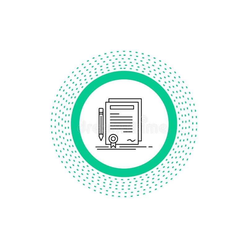 Biznes, świadectwo, kontrakt, stopień, dokument Kreskowa ikona Wektor odosobniona ilustracja ilustracji