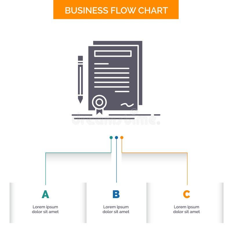 Biznes, świadectwo, kontrakt, stopień, dokument Spływowej mapy Biznesowy projekt z 3 krokami Glif ikona Dla prezentacji t?a ilustracji
