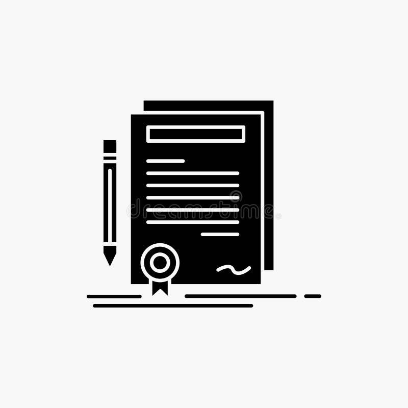 Biznes, świadectwo, kontrakt, stopień, dokumentu glifu ikona Wektor odosobniona ilustracja ilustracji