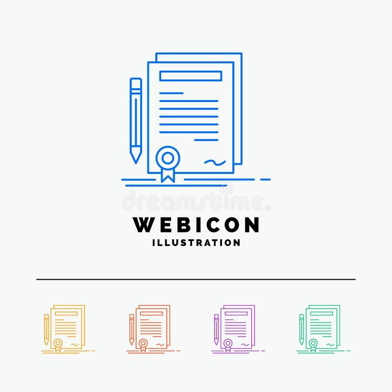 Biznes, świadectwo, kontrakt, stopień, dokumentu 5 koloru linii sieci ikony szablon odizolowywający na bielu r?wnie? zwr?ci? core ilustracji