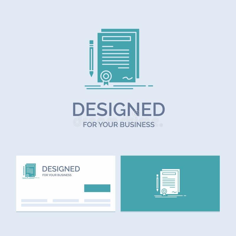 Biznes, świadectwo, kontrakt, stopień, dokumentu logo glifu ikony Biznesowy symbol dla twój biznesu Turkusowe wizyt?wki z royalty ilustracja
