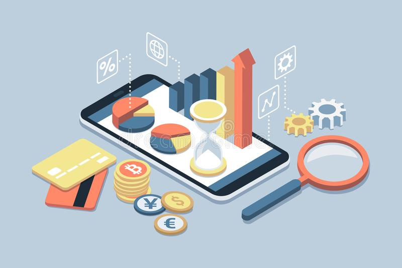 Biznes app na smartphone i finanse ilustracji