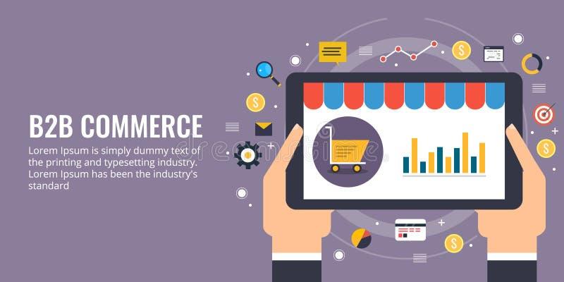 Biznes biznes, b2b, ecommerce, strona internetowa rozwój i marketingu pojęcie, Płaskiego projekta wektorowy marketingowy sztandar royalty ilustracja