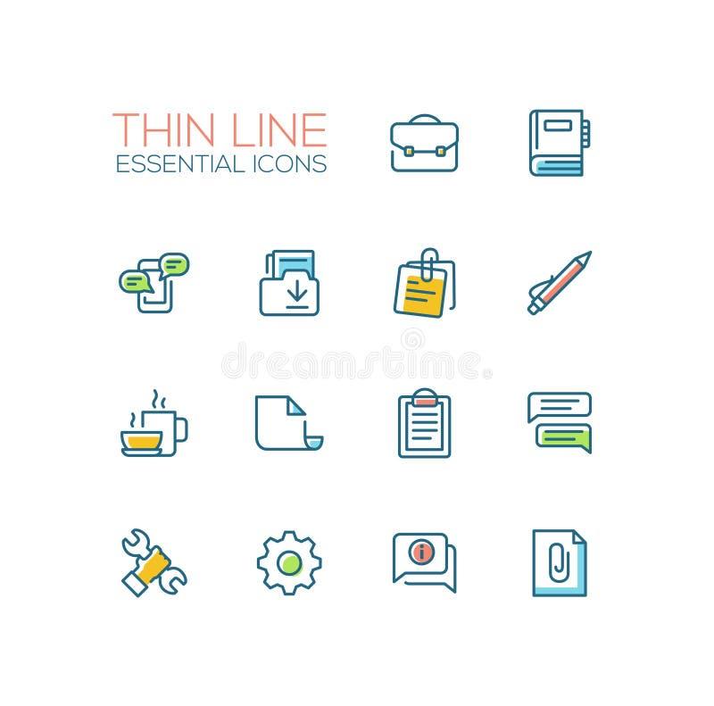 Biznes, biuro - Cienkie Pojedynczej linii ikony Ustawiać ilustracja wektor