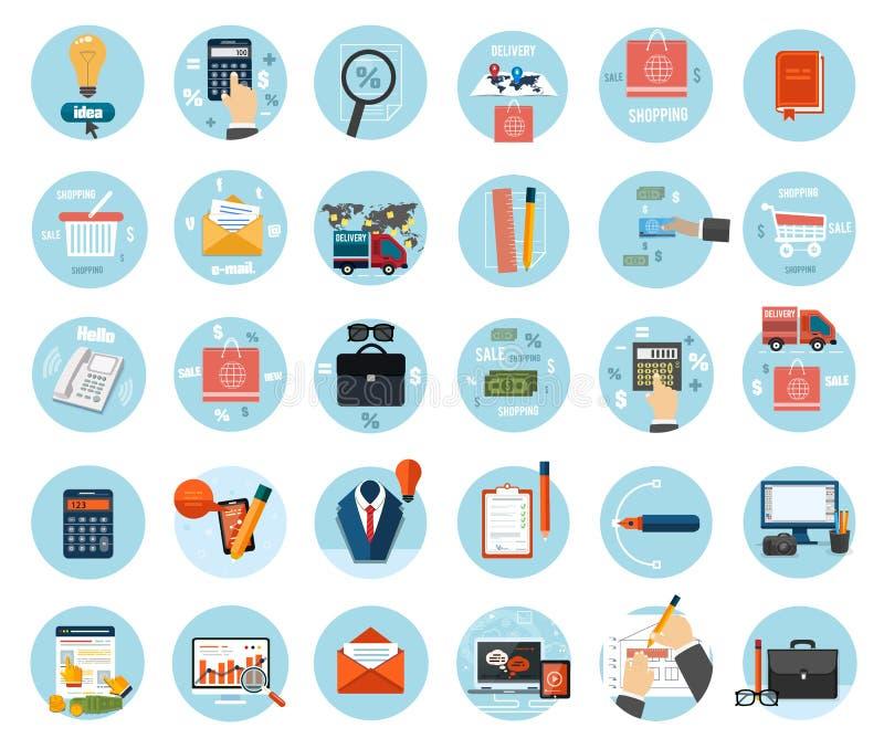 Biznes, biuro i marketingowe rzeczy ikony. royalty ilustracja