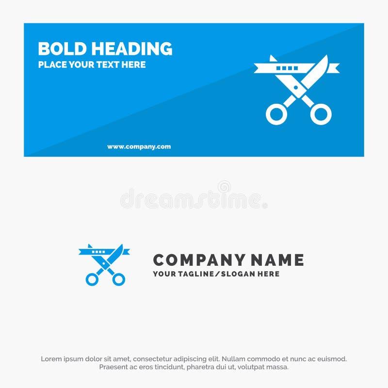 Biznes, ceremonia, Nowożytny, Otwierający stałego ikony strony internetowej sztandar i biznesu logo szablon ilustracja wektor