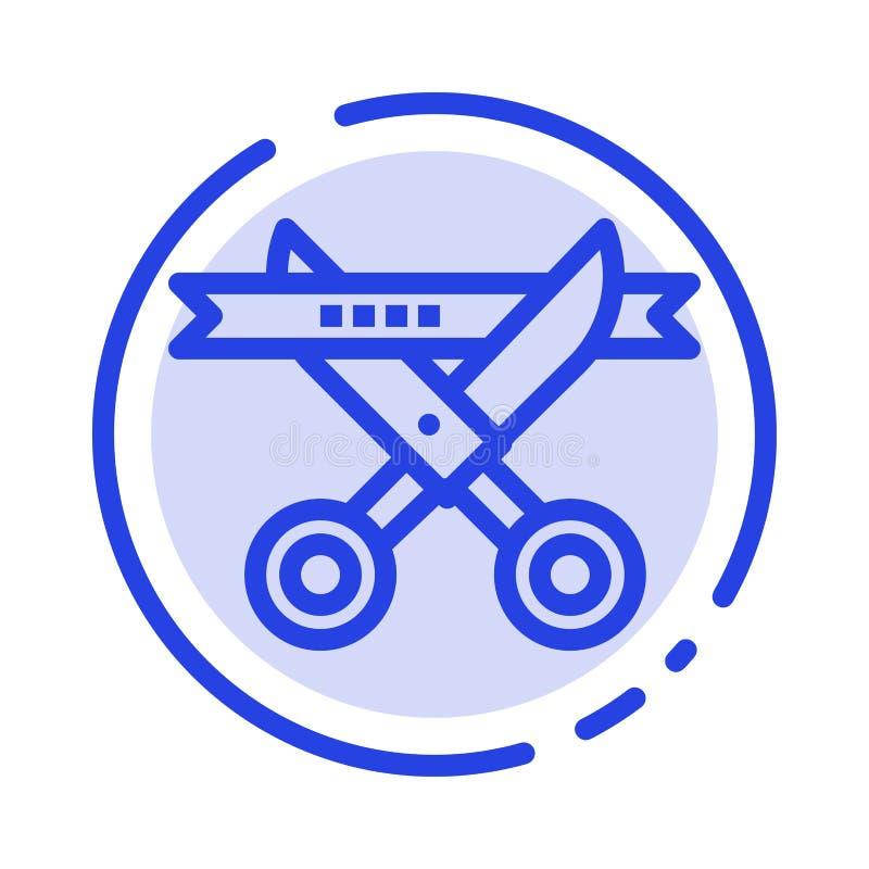 Biznes, ceremonia Otwiera błękit Kropkującą linii linii ikonę, Nowożytny, royalty ilustracja