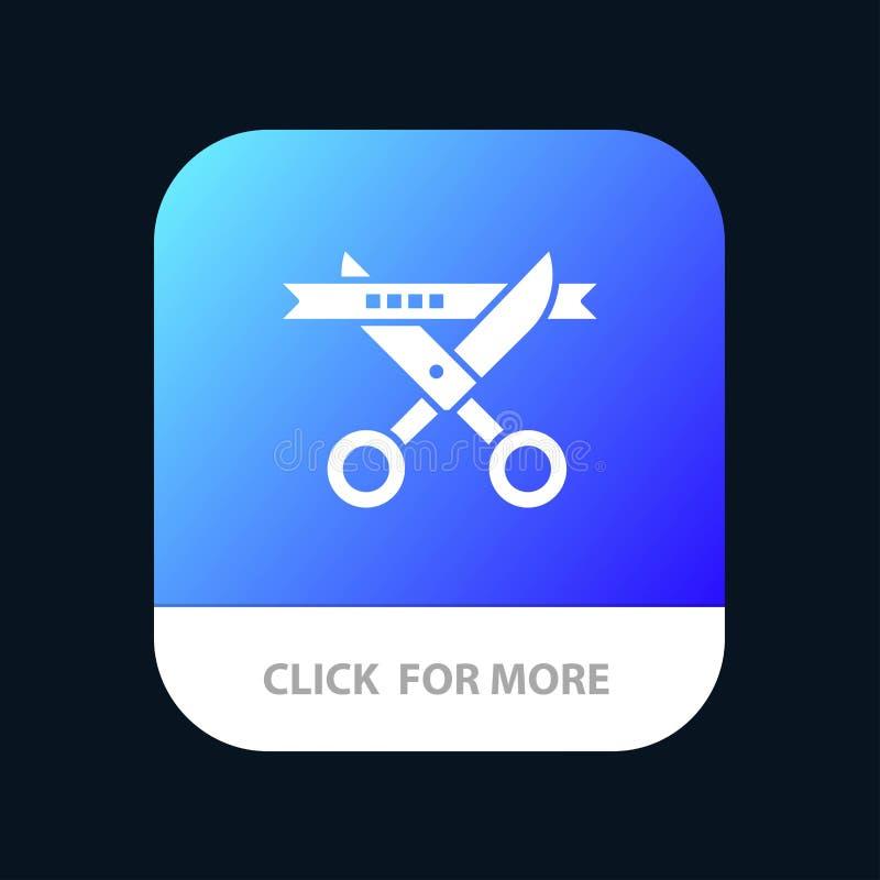 Biznes, ceremonia Otwiera Mobilnego App guzika, Nowożytny, Android i IOS glifu wersja ilustracja wektor