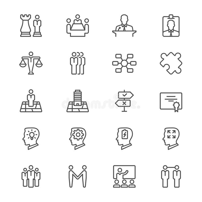Biznes cienkie ikony ilustracji