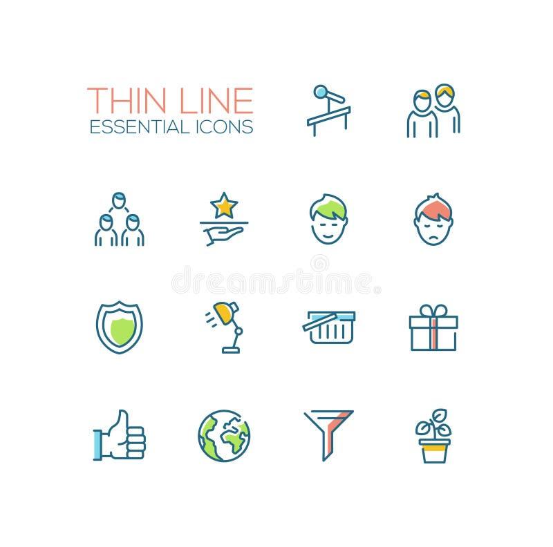 Biznes - Cienkie Pojedynczej linii ikony Ustawiać ilustracja wektor