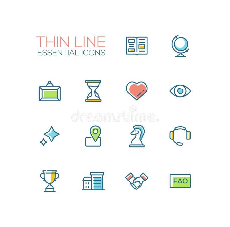Biznes - Cienkie Pojedynczej linii ikony Ustawiać royalty ilustracja