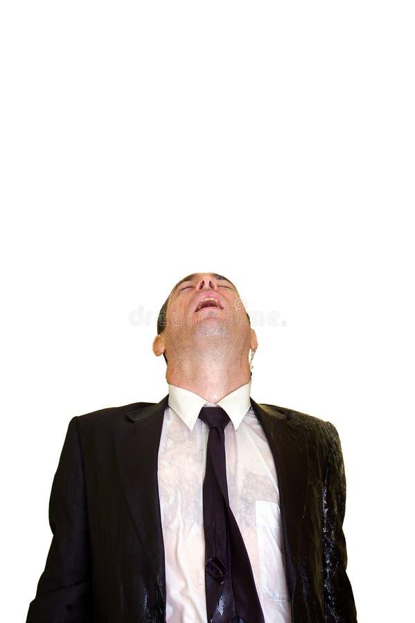 biznes cześć odizolowywał mężczyzna nad chełbotania wodą zdjęcia royalty free