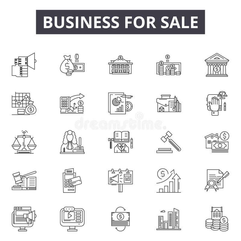 Biznes dla sprzedaży linii ikon, znaki ustawia, wektor Biznes dla sprzedaż konturu pojęcia, ilustracja: biznes, pieniądze, ry ilustracji