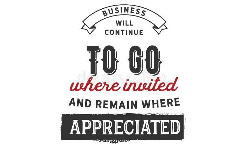 Biznes docenia kontynuuje iść i zostaje dokąd dokąd proszony ilustracji