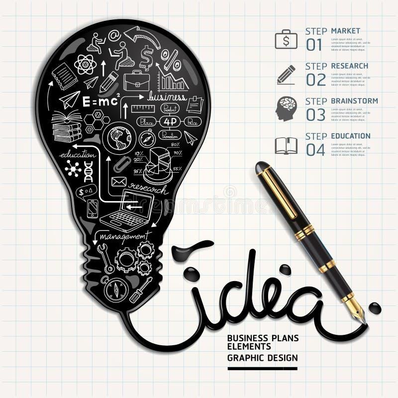 Biznes doodles ikony ustawiać Atrament kształtna żarówka royalty ilustracja