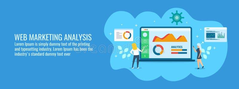 Biznes drużyna analizuje online marketingowych dane, informacja, widowni zaręczynowy tempo, płaski projekta wektoru sztandar royalty ilustracja