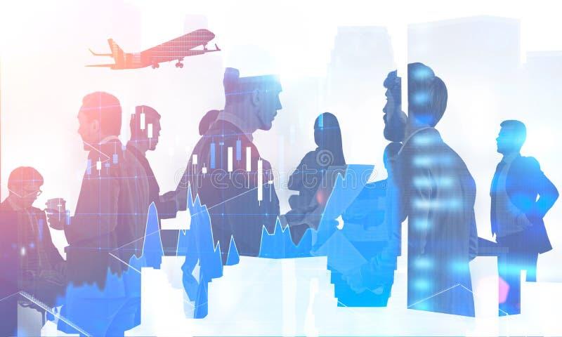 Biznes drużyna w mieście, rynku walutowego wykres ilustracji